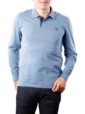 Gant Contrast Collar Pique LS denim blue melange