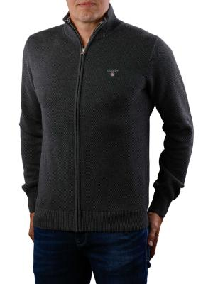 Gant Cotton Pique Zip Cardigan antracit melange