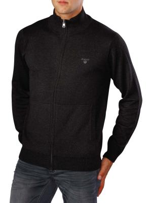 Gant Light Weight Cotton Zip Cardigan dark charcoal melange