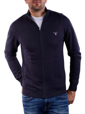 Gant Cotton Wool Zip Cardigan navy