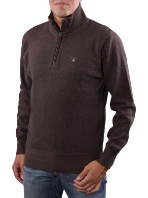 Gant Sacker Rib Half Zip Collar dark brown melange