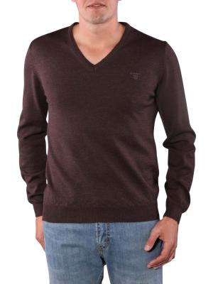 Gant Solid Merinowool Sweater dark brown melange