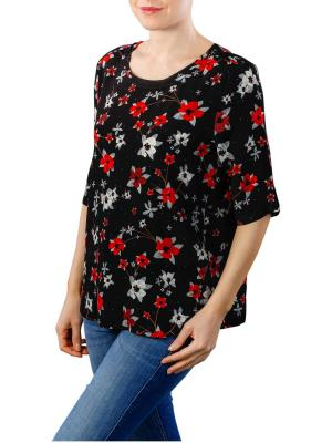 Yaya Woven Top Flower Print black dessin