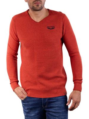 PME Legend V-Neck Cotton Mouline Knit orange