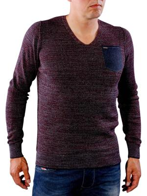 PME Legend V-Neck Cotton Mouline Plated autumn grape