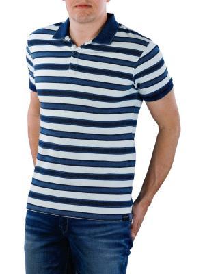 Scotch & Soda Polo Shirt Striped indigo pique