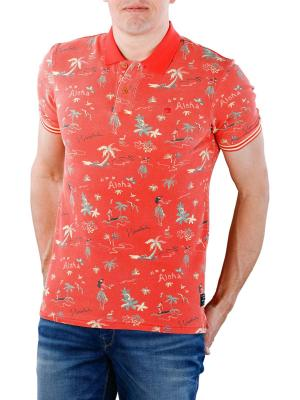Scotch & Soda Pique Polo Shirt Hawaiian Print 0217