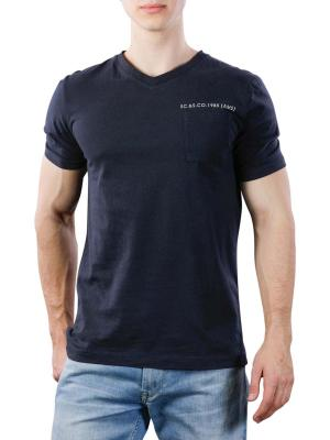 Scotch & Soda Washed V-Neck Tee Chest Pocket 0005