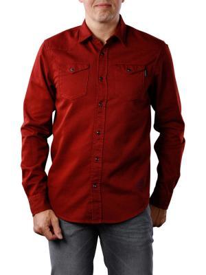 Scotch & Soda Garment Dyed Western Shirt dark red