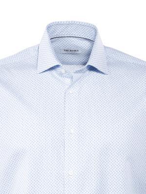THE BASICS Hemd Modern Fit Hai bügelleicht print white