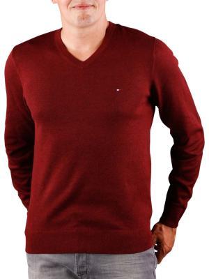 Tommy Hilfiger Plaited Cotton Silk Sweater burgundy