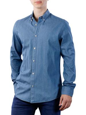 Vanguard Long Sleeve Shirt indigo twill dobby