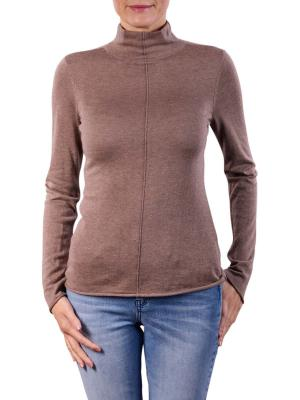 Yaya Knitted High Neck Top chocolate melange