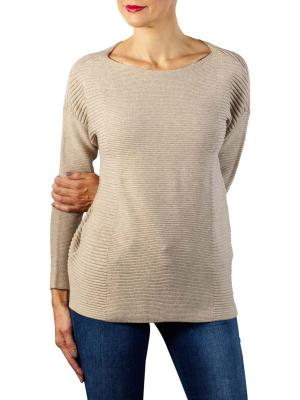Yaya Cotton Sweater Splits beige melange