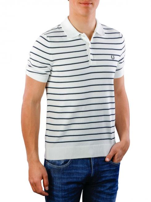 Fred Perry Fine Stripe Knitted Shirt snow white