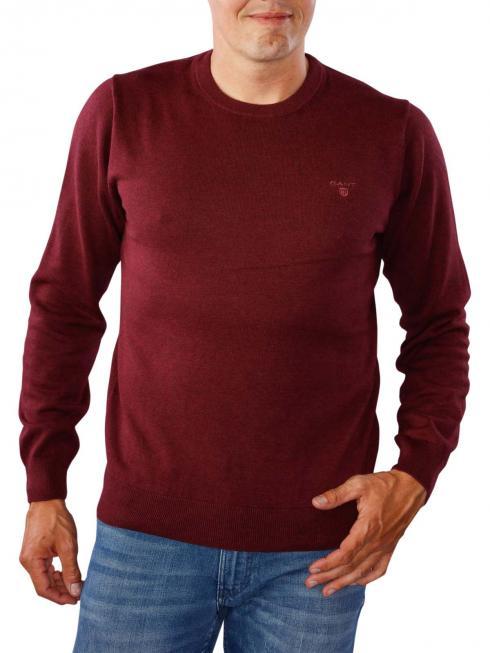 Gant Light Weight Cotton Crew dark burgundy melange