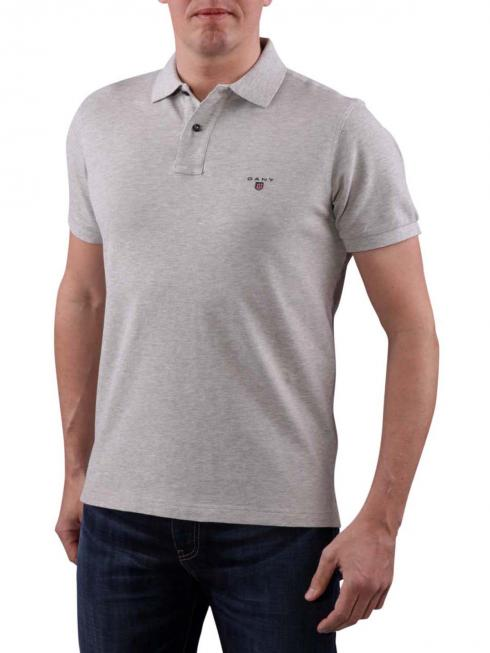 Gant Solid Piqué SS Rugger light grey melange