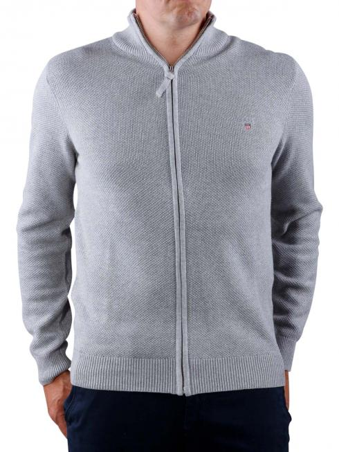 Gant Cotton Pique Zip Cardigan grey