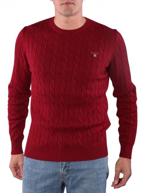 Gant Cotton Cable Crew Sweater bordeaux melange