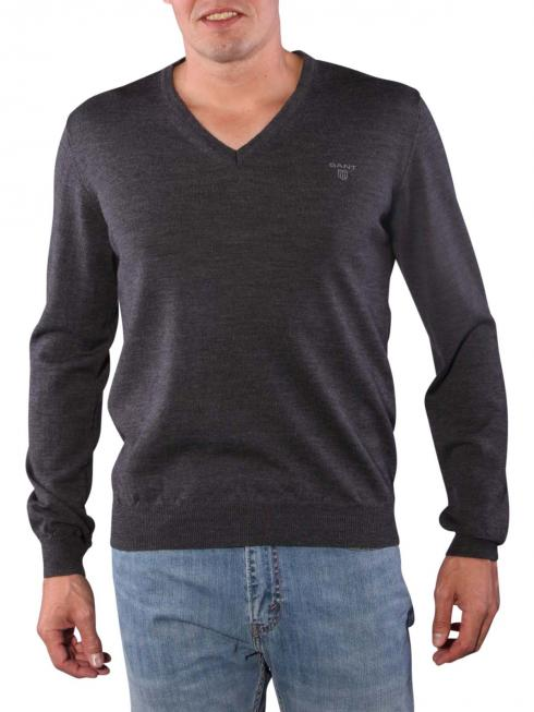 Gant Solid Merinowool Sweater antracit melange