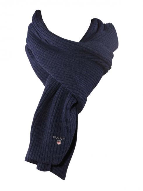 Gant Cotton Rib Knit Scarf dark indigo melange