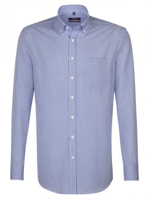 Seidensticker Shirt Regular Fit BD non iron checked blue/w