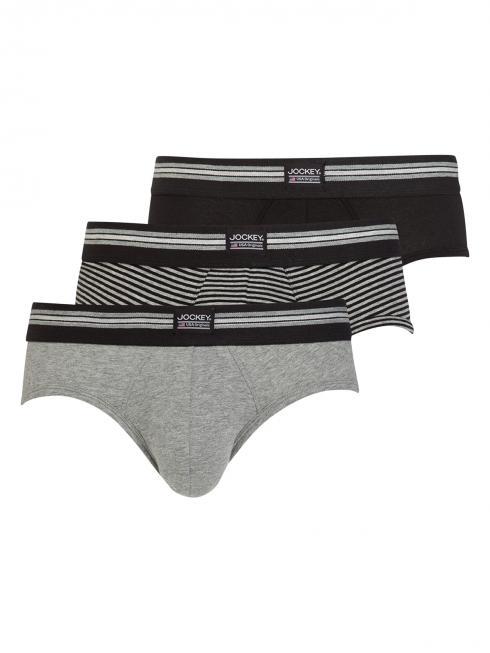 Jockey 3-Pack Cotton Stretch Brief grey/black striped