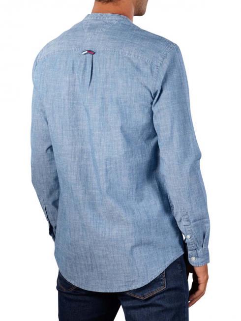 Tommy Jeans Chambray Mao Hemd mid indigo