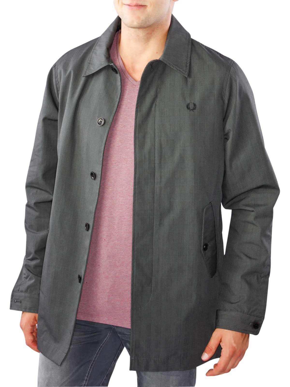 Fred Perry Prince of Wales Caban Mac Jacket graphite Fred