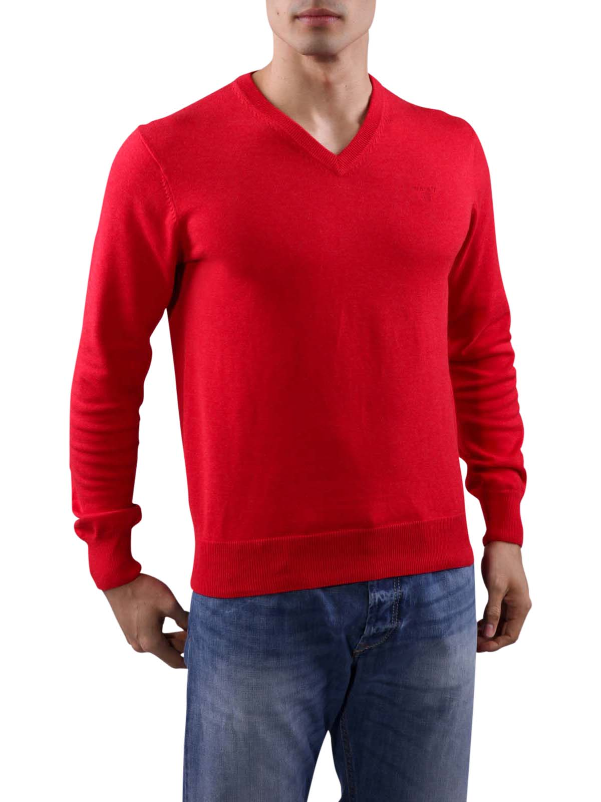 Gant Light Weight Cotton V Neck Bright Red Gant Herren Pullover